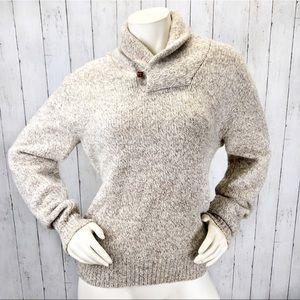 VTG LL Bean Wool Beige Sweater Sz M